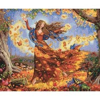 "Gold Collection Fall Fairy Counted Cross Stitch Kit-14""X12"" 14 Count"