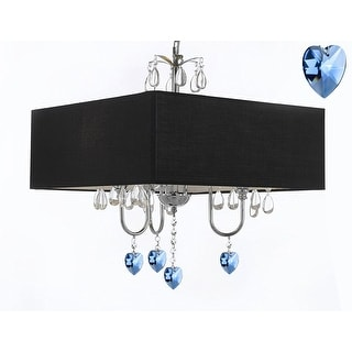 Modern Contemporary Plug In Chandelier With Large Square Black Shade And Blue Hearts