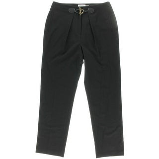 Calvin Klein Womens Pleated Large Toggle Dress Pants