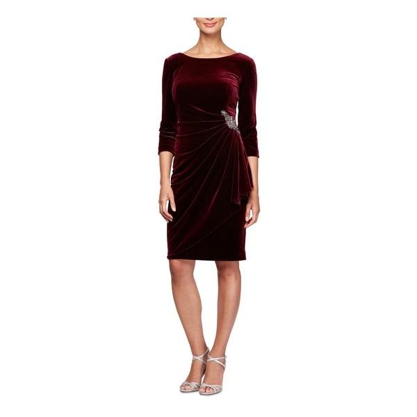 ALEX EVENINGS Burgundy 3/4 Sleeve Knee Length Sheath Dress Size 16W. Opens flyout.