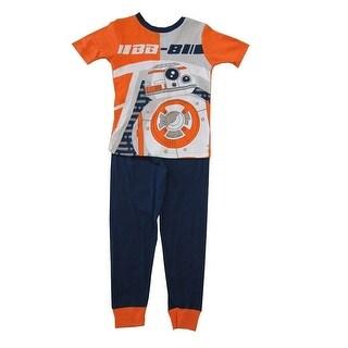 Star Wars Boys Orange Navy Blue Short Sleeve 2 Pc Pajama Set
