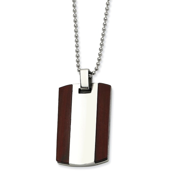 Chisel Stainless Steel Wood Dogtag Pendant 24 Inch Necklace (1 mm) - 24 in