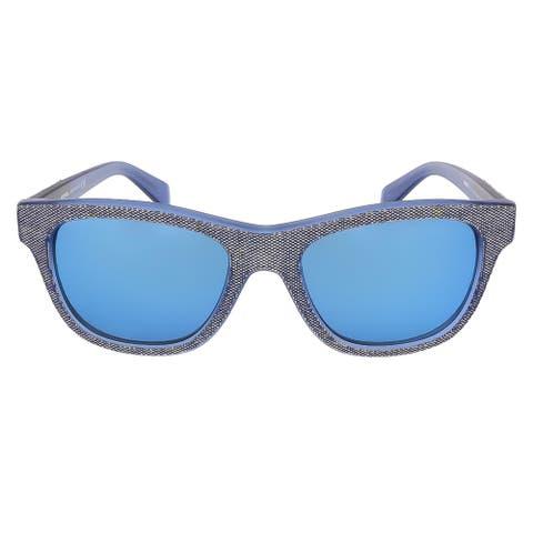 Diesel DL0111/S 92X Blue-Grey Denim Rectangle sunglasses - 52-18-140