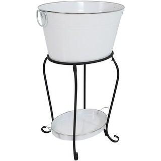 Sunnydaze Large Ice Bucket Beverage Holder with Stand and Tray - White Finish