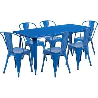 Kendrick Rectangular 31.5'' x 63'' Blue Metal Indoor-Outdoor Table Set w/6 Stack Chairs for Restaurant/Bar/Pub/Patio