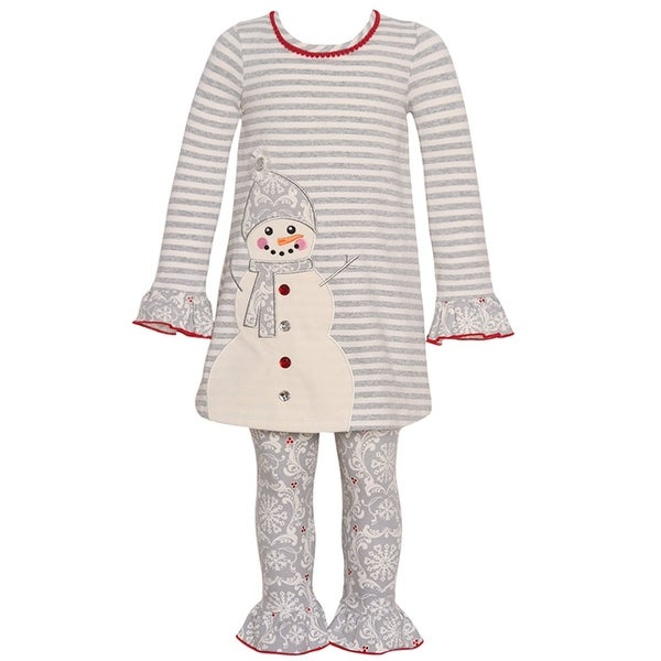 c90dd56be Shop Bonnie Jean Little Girls Gray Stripe Snowman Applique 2 Pc Legging Set  - Free Shipping On Orders Over $45 - Overstock - 18170044