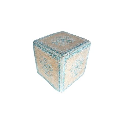 Porter Designs Malabar Antique Pouf, Teal