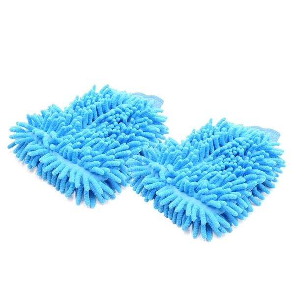 2Pcs Light Blue Dual Sided Microfiber Chenille Mitt Car Washing Cleaning Glove