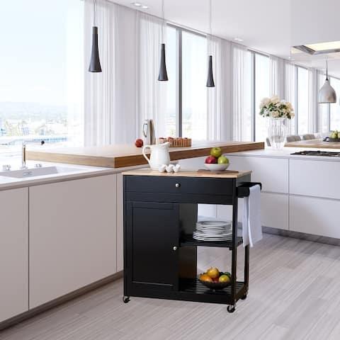 Glitzhome Kitchen Island Kitchen Cart with Rubber Wooden Top