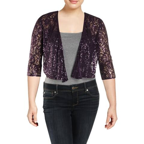 Alex Evenings Womens Plus Bolero Lace 3/4 Sleeves - Eggplant - 14W