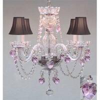 Swarovski elements Crystal Trimmed Crystal Chandelier Lighting With Black Shades & Pink Hearts