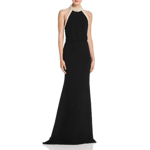 Rachel Zoe Womens Aliso Formal Dress Embellished Halter - Black