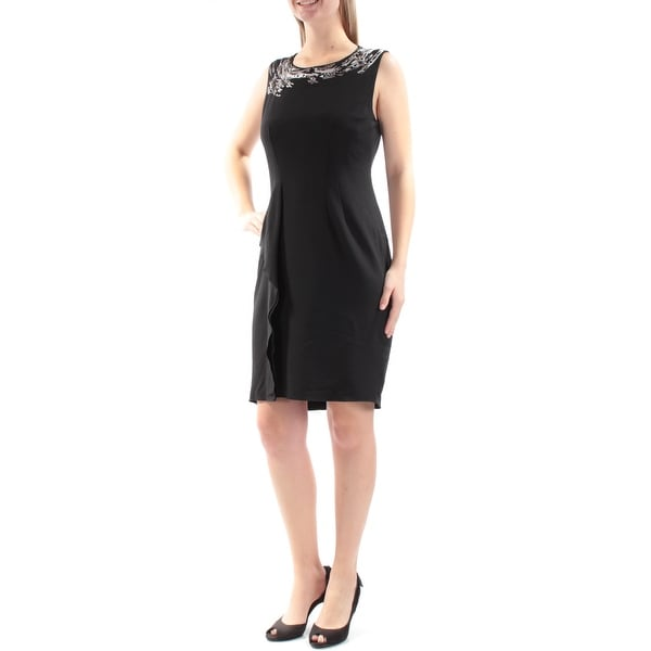 ANNE KLEIN Womens Silver Embroidered Sequined Sleeveless Jewel Neck Above The Knee Sheath Cocktail Dress Size: 10