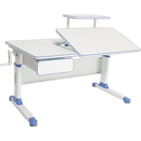 ApexDesk Little Soleil Kid's Height Adjustable Desk w/ Shelf & Drawer