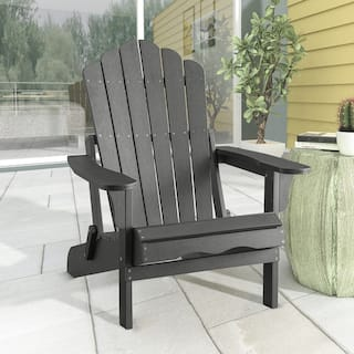 Haven Folding Poly Resin Plastic Adirondack Chair