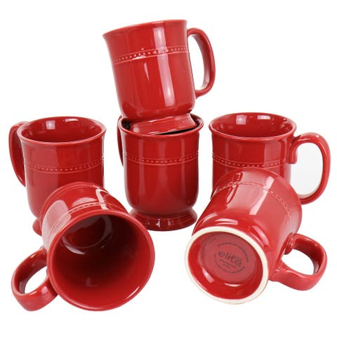 Gibson Elite Barberware 6 Piece 14.6 Ounce Cup Set in Red