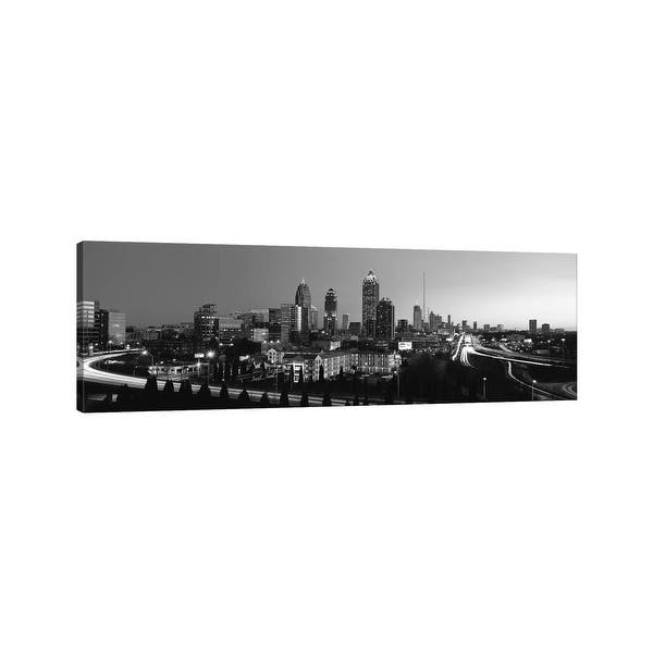 Icanvas Atlanta Panoramic Skyline Cityscape Black White By Unknown Artist Canvas Print Overstock 10067227