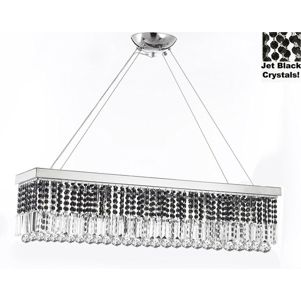 10 light 40 contemporary crystal chandelier rectangular chandeliers 10 light 40 contemporary crystal chandelier rectangular chandeliers lighting trimmed with jet black crystal mozeypictures Images