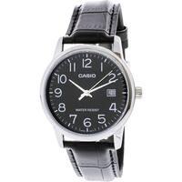 Casio Men's  Silver Leather Japanese Quartz Fashion Watch