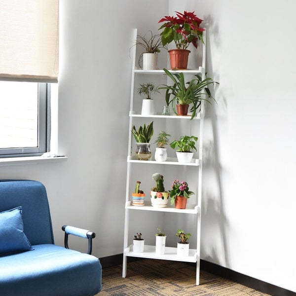 5 Tier Bookcase Bookshelf Leaning Wall Corner Shelf Ladder Storage Display