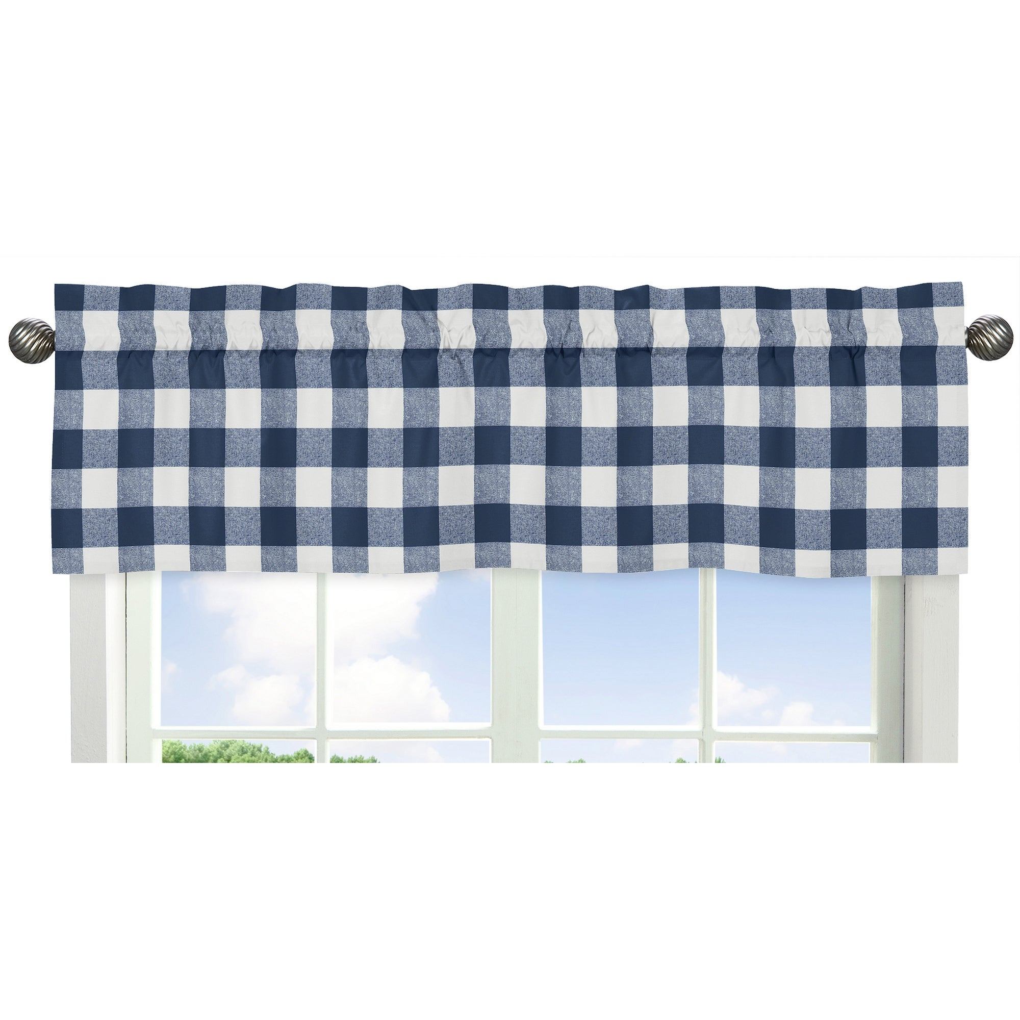 Navy Buffalo Plaid Check Collection Window Curtain Valance Blue And White Woodland Rustic Country Farmhouse Lumberjack Overstock 31459881