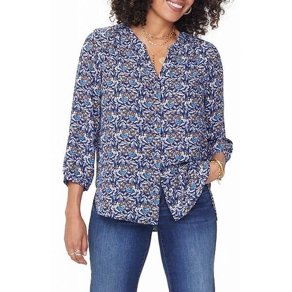 NYDJ Blue Women Size Medium M Floral Button Down Pleated Back Blouse