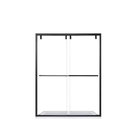"""Brescia 60"""" W x 76"""" H Double Sliding Framed Shower Door in Matt Black - 60"""" W x 76"""" H"""