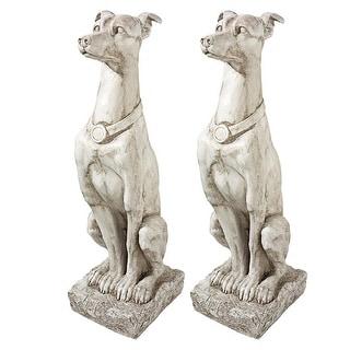 Design Toscano Art Deco Whippet Greyhound Sentinel Dog Statue: Set of Two