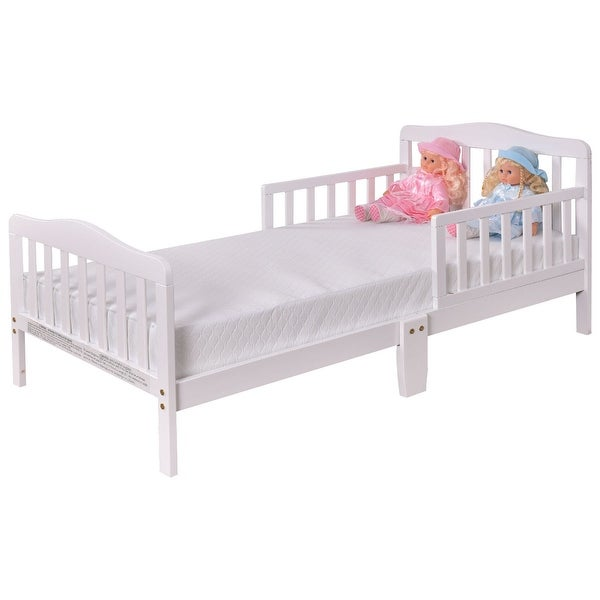 Baby Toddler Wooden Bed with Safety Rails-White