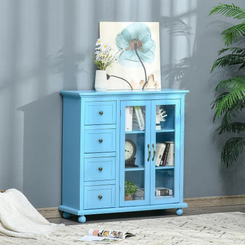 HOMCOM Storage Sideboard Cabinet with 4 Drawers and Glass Door Cupboard, Console Table for Living Room Dining Room Kitchen