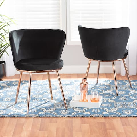 Farah Modern Luxe and Glam Velvet and Metal Dining Chair Set (2pc)