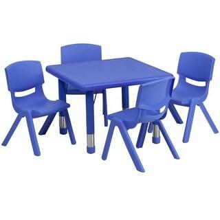 Delacora FF-YU-YCX-0023-2-SQR-TBL-E-GG Five Piece Plastic Framed Classroom Set