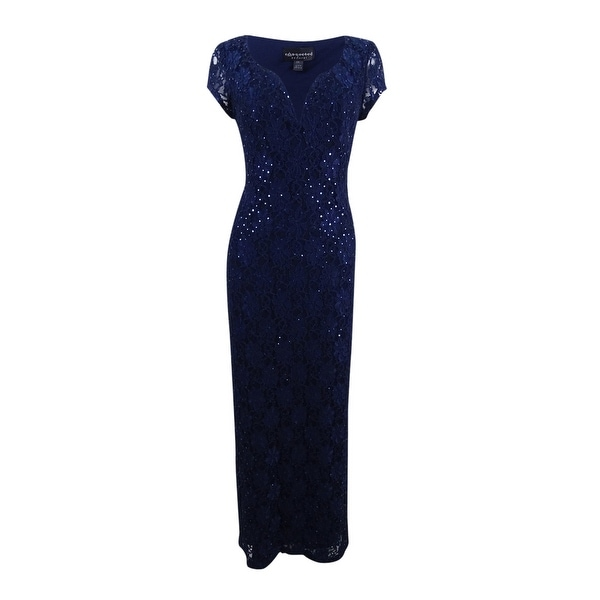 Connected Women's Plus Size Sequined Lace Gown