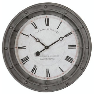 "24.375"" Nautical Porthole Roman Numeral Wall Clock with Burnished Rusty Frame"