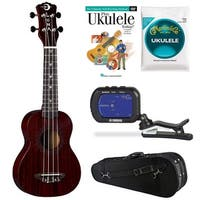 Luna Vintage Mahogany Soprano Red Satin Uke w/ Knox Case Bundle