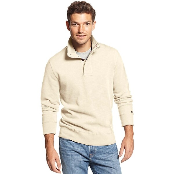 c5695410 Tommy Hilfiger Mens Porter Quarter-Button Mock-Neck Sweater Small S Ivory