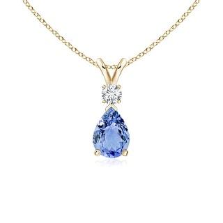 Angara Pear Tanzanite Teardrop Pendant Necklace with Diamond - Blue/White