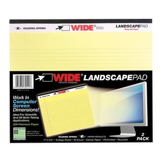 Roaring Legal Pad, 11 x 9-1/2 Inches, Canary Yellow, 40 Sheets, Pack of 2