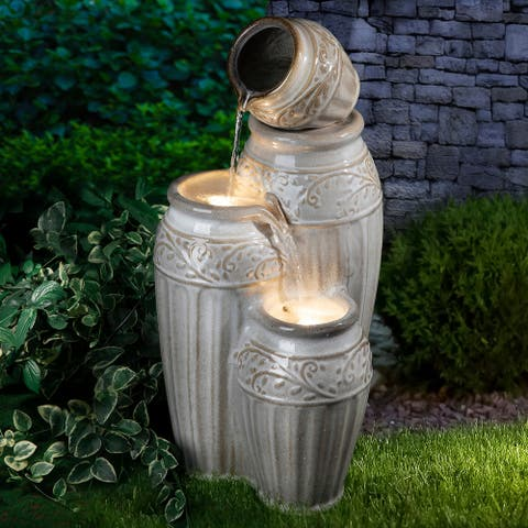Glitzhome 27-Inch 4 Tier Embossed Pattern LED Ceramic Pots Fountain