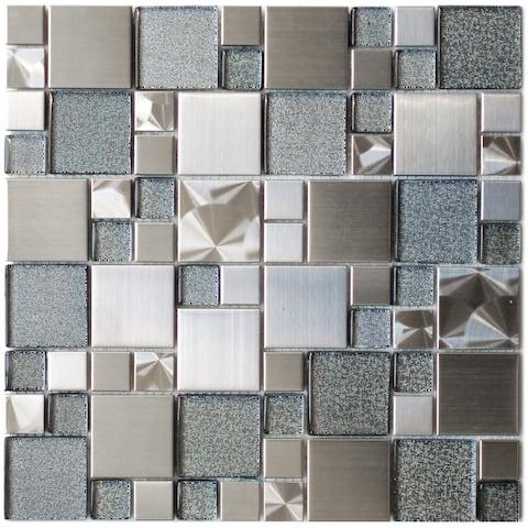 Cobble Steel Silver Glass Metal Tile 11.8x11.8 (11 tiles/10.63 Sqft)