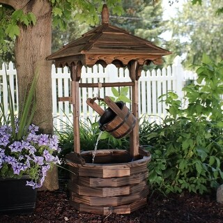 Sunnydaze Old-Fashioned Wood Wishing Well Water Fountain with Liner - 48-Inch