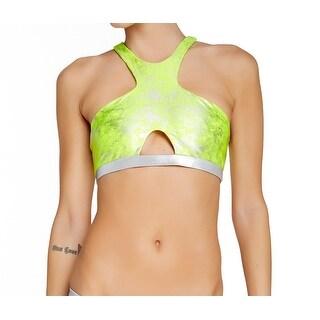 Beach Bunny Yellow Womens Size XL Neon Galaxy Cut-Out Tankini Top