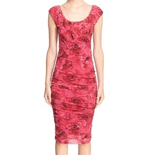 Fuzzi NEW Red Womens Size Large L Floral-Print Ruched Sheath Dress