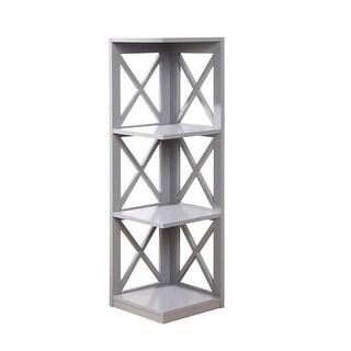 Convenience Concepts 203070GY Oxford 3 Tier Corner Bookcase, Gray