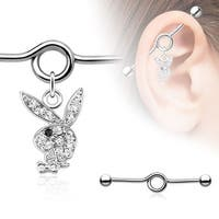 Multi Pave Playboy Bunny with Black Gem Eye Surgical Steel Industrial Barbell (Sold Individually)