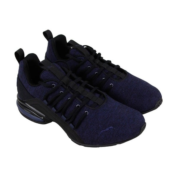 Shop Puma Axelion Mens Blue Textile Athletic Lace Up Training Shoes ... a3e7f74cd