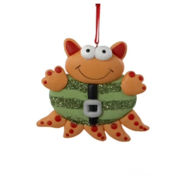 "3.5"" Ugly Cuties ""Hal"" Orange and Red Multi-Legged Alien Christmas Ornament"