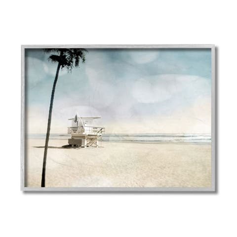 Stupell Industries Empty Beach Coast with Lifeguard Stand Framed Wall Art