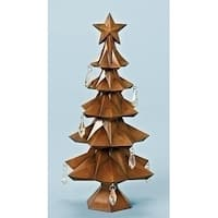 "11"" Faux Wood Tree with Star and Jewels Table Top Christmas Decoration"