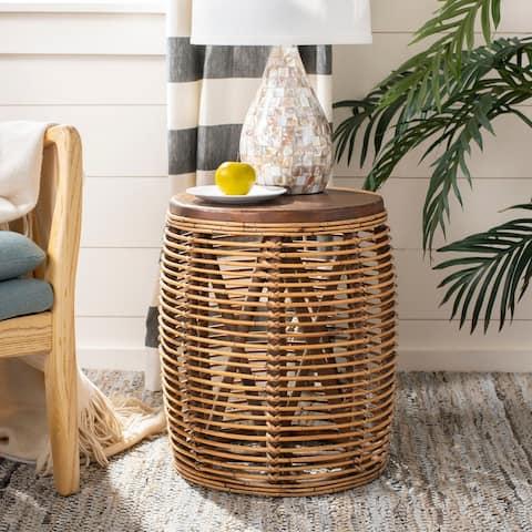 "SAFAVIEH Maui Rattan Drum Stool Table -Honey / Brown - 17.7"" x 17.7"" x 18.9"""